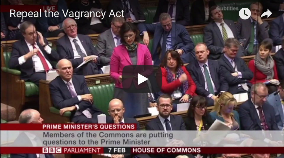 Layla Moran MP Questions Theresa May on Vagrancy Act