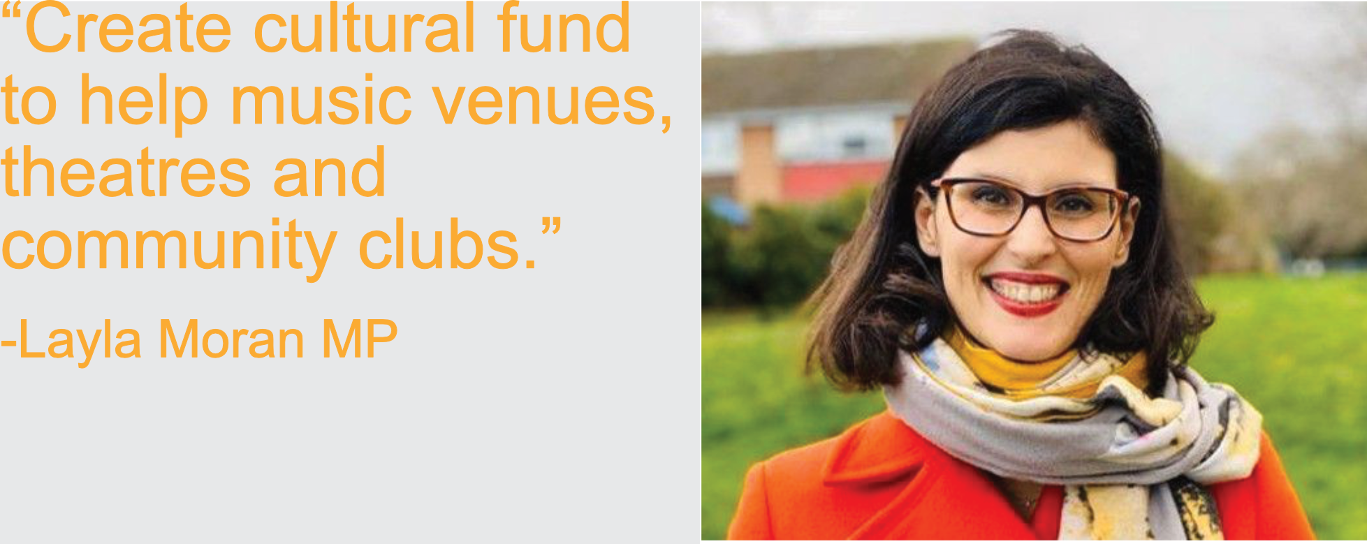 Create cultural fund to help music venues, theatres and community clubs
