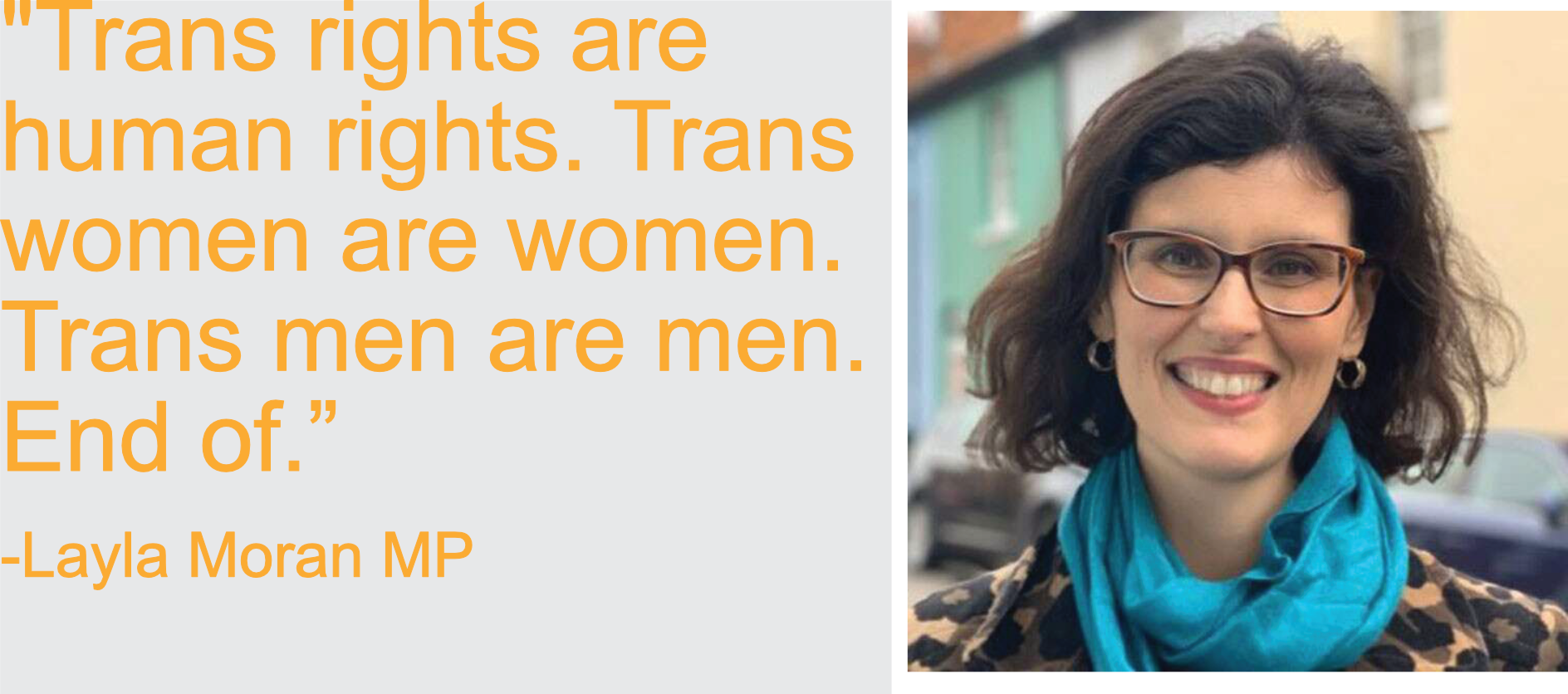 Trans rights are human rights. Trans women are women. Trans men are men. End of.