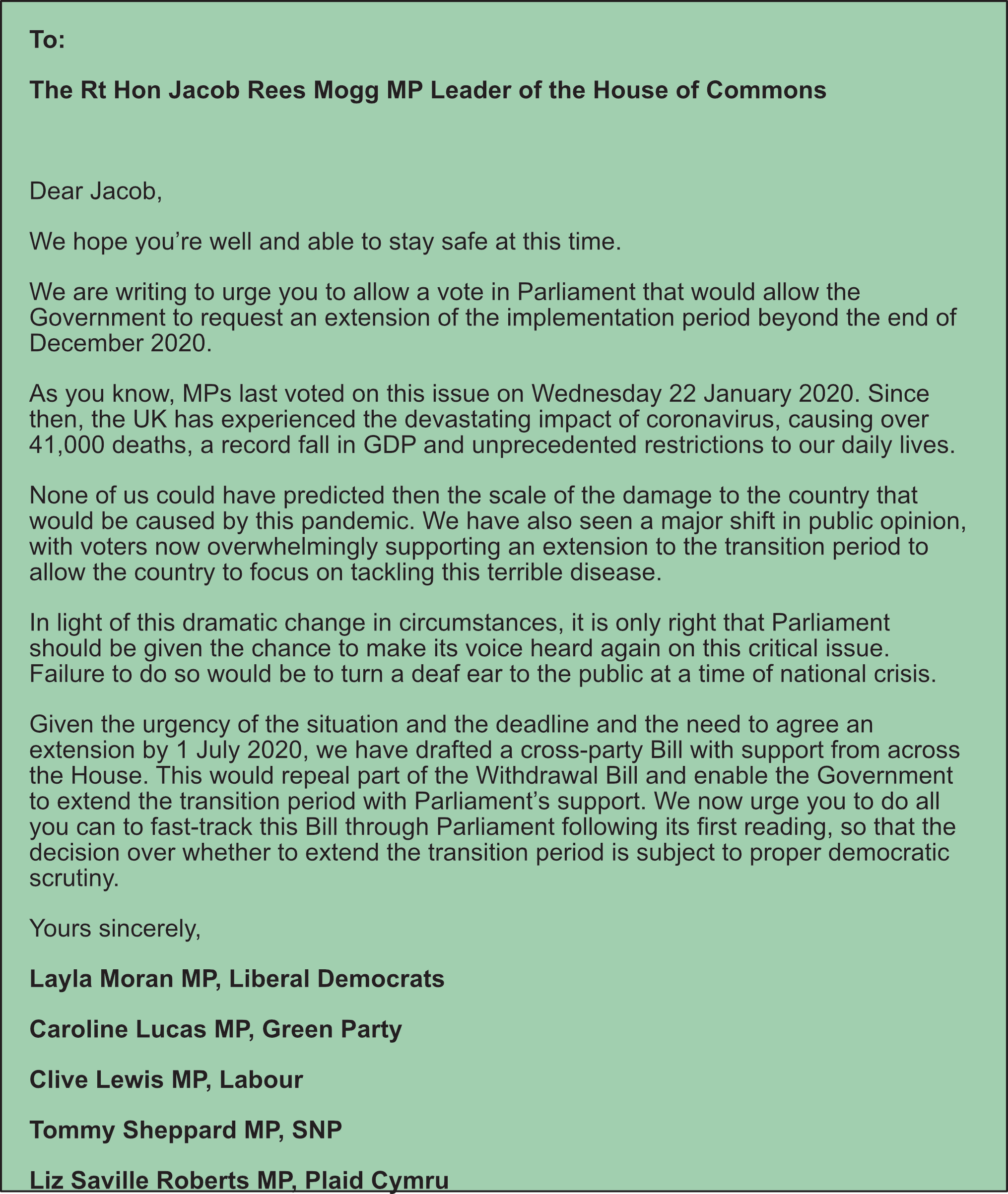 Letter to Leader of the House of Commons