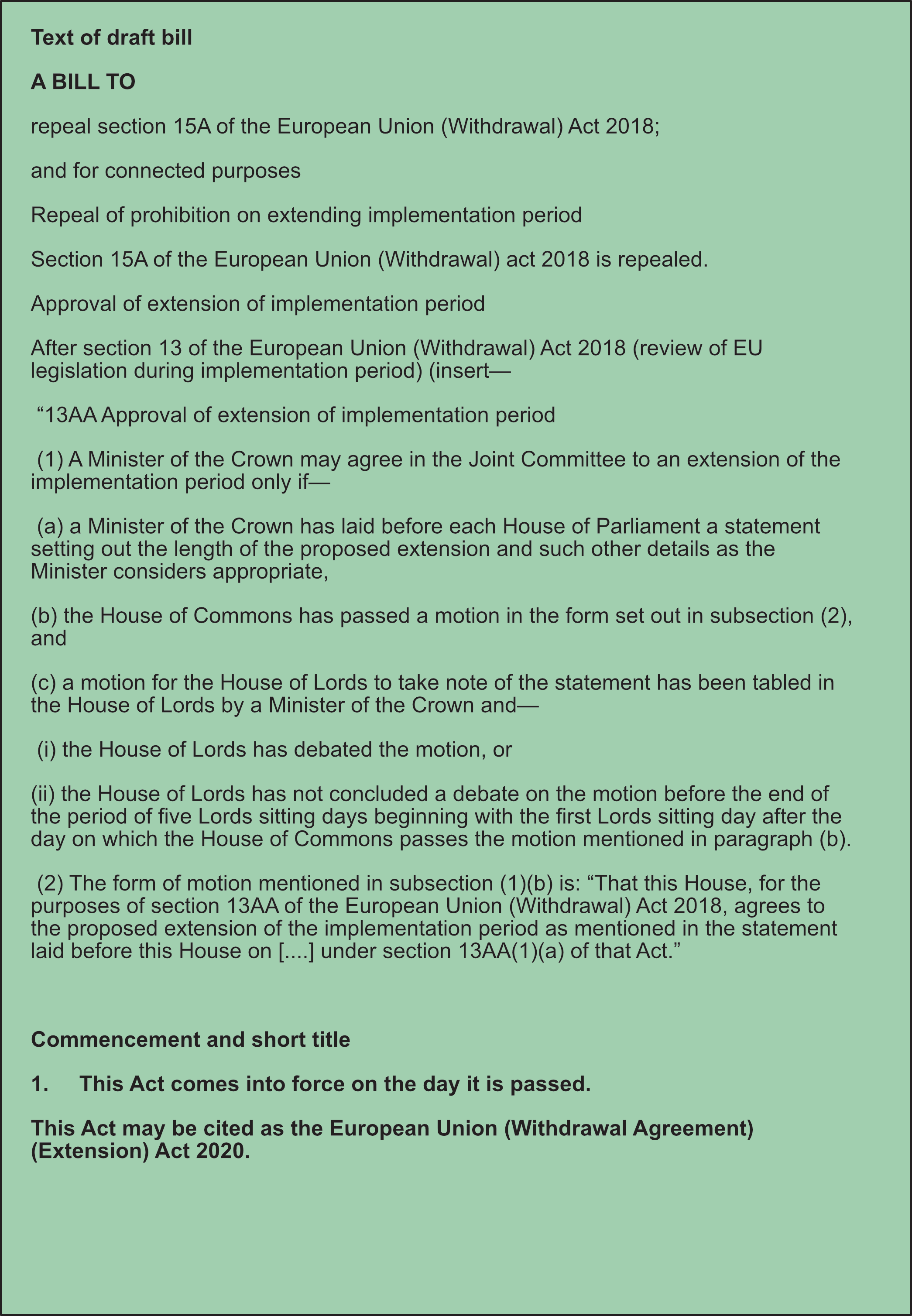 Draft Brexit Extension Bill
