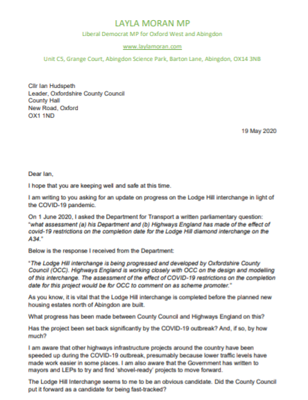 Letter to Ian Hudspeth_Lodge Hill_Page 1
