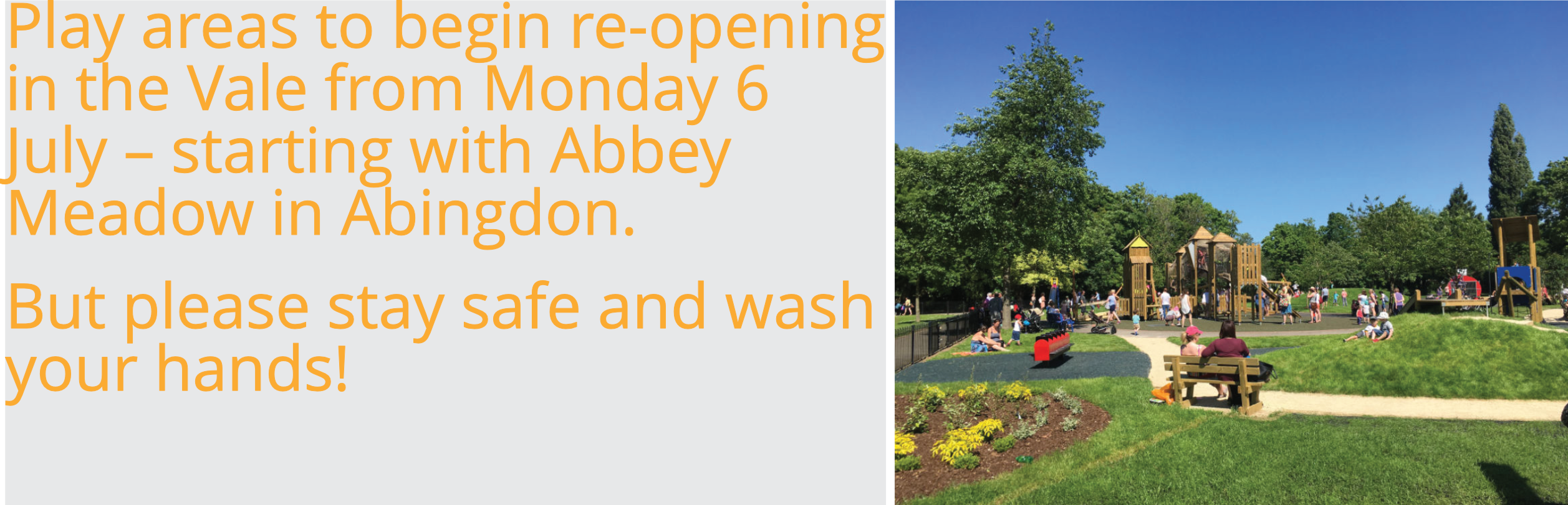 Play areas to begin re-opening in the Vale from Monday 6 July – but please stay safe and wash your hands!