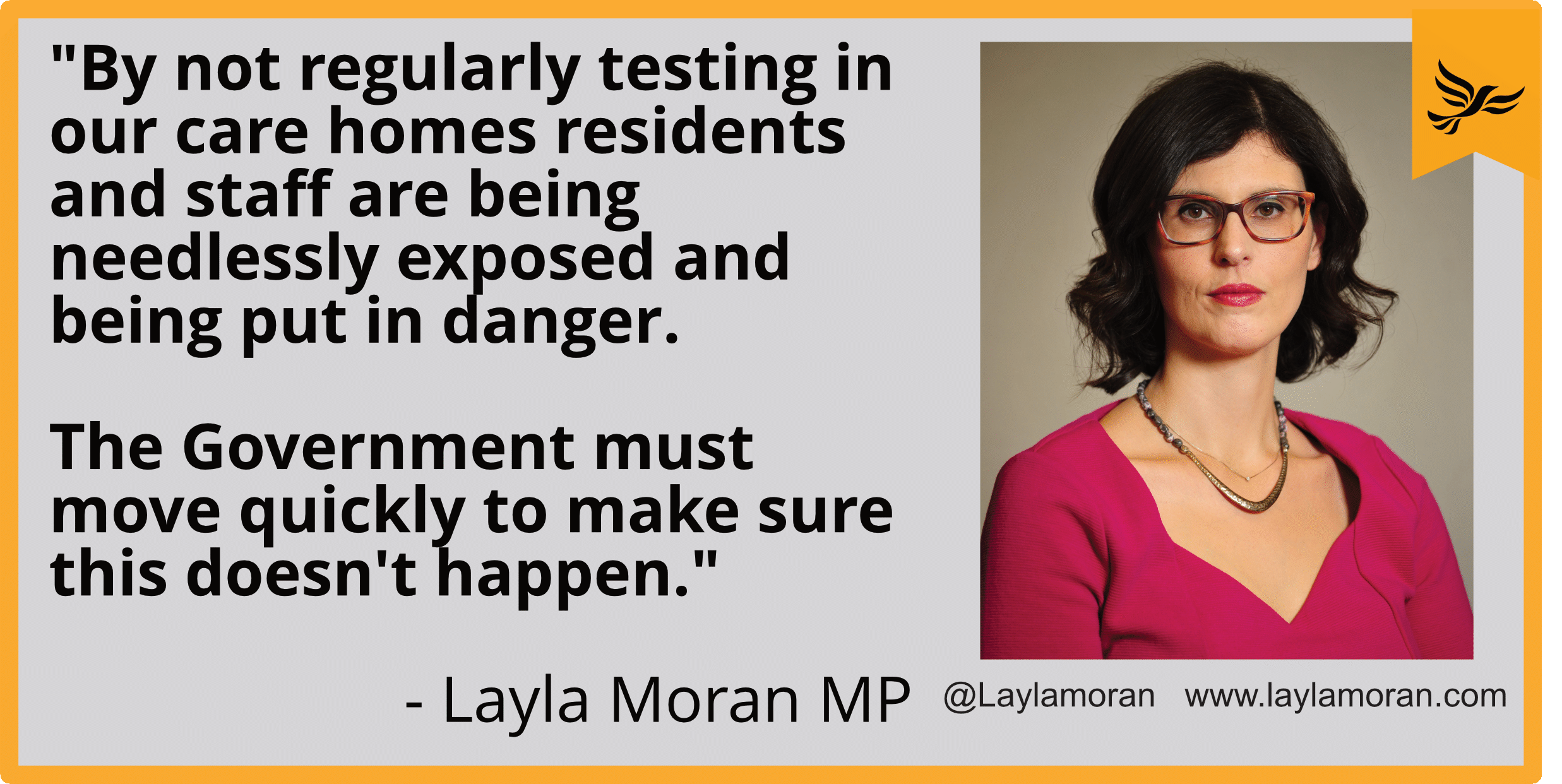 """By not regularly testing in our care homes residents and staff are being needlessly exposed and being put in danger. The Government must move quickly to make sure this doesn't happen."""