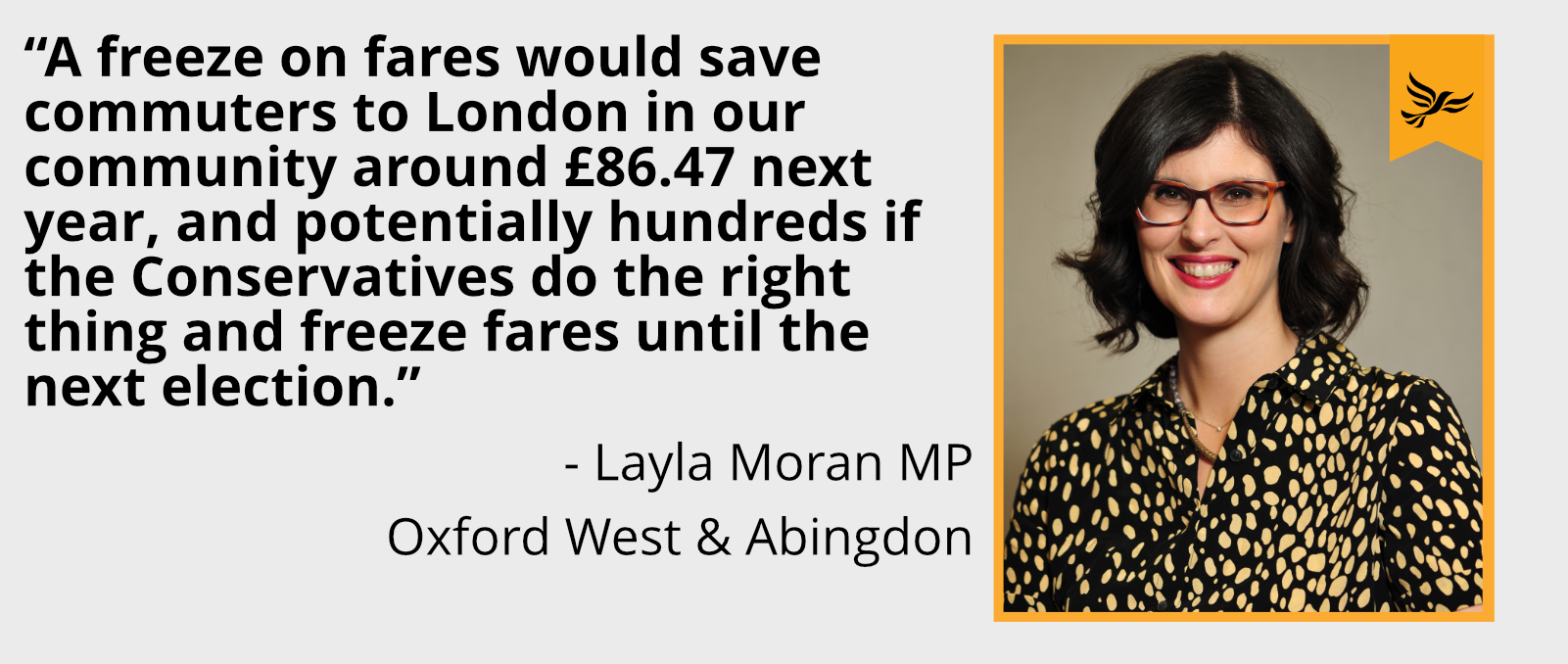 A freeze on fares would save commuters to London in our community around £86.47 next year, and potentially hundreds if the Conservatives do the right thing and freeze fares until the next election.