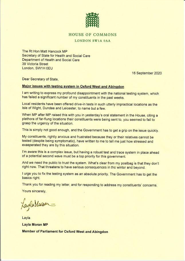Letter to Matt Hancock MP