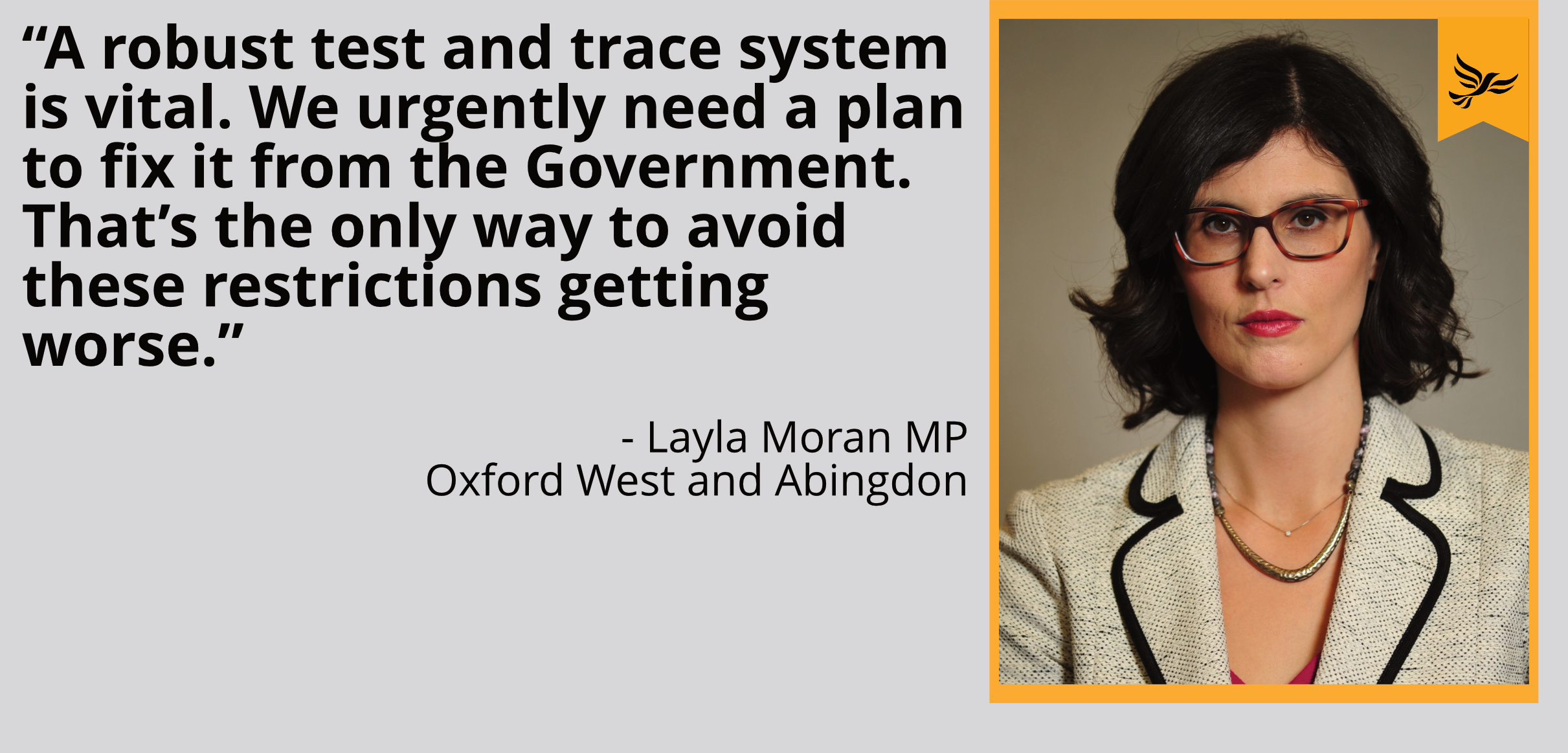 """A robust test and trace system is vital. We urgently need a plan to fix it from the Government. That's the only way to avoid these restrictions getting worse."""