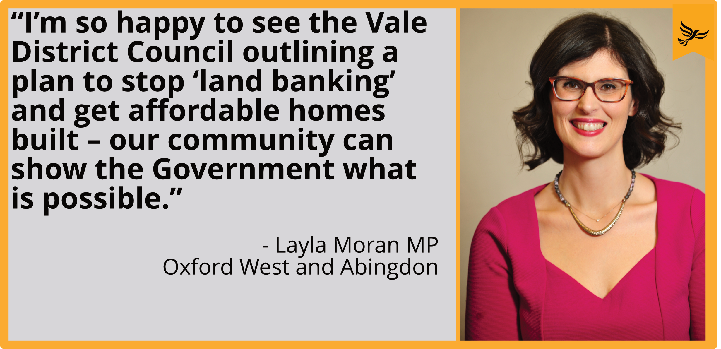 """I'm so happy to see the Vale District Council outlining a plan to stop 'land banking' and get affordable homes built – our community can show the Government what is possible."""