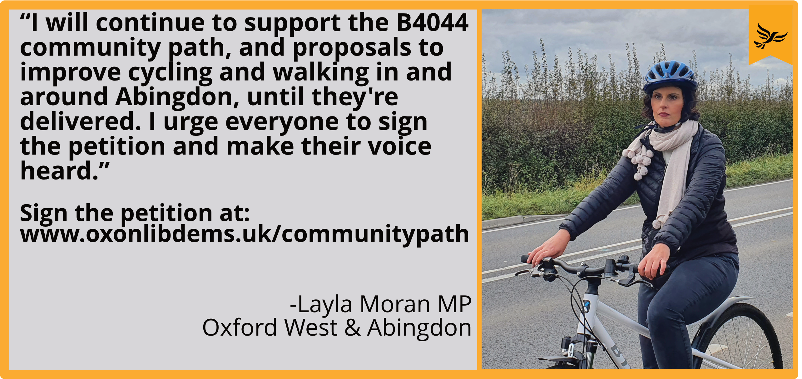 "ayla Moran responds to active travel funding for Oxfordshire: lack of schemes in Abingdon and the Vale ""very disappointing""_ picture Martin Eggleston"