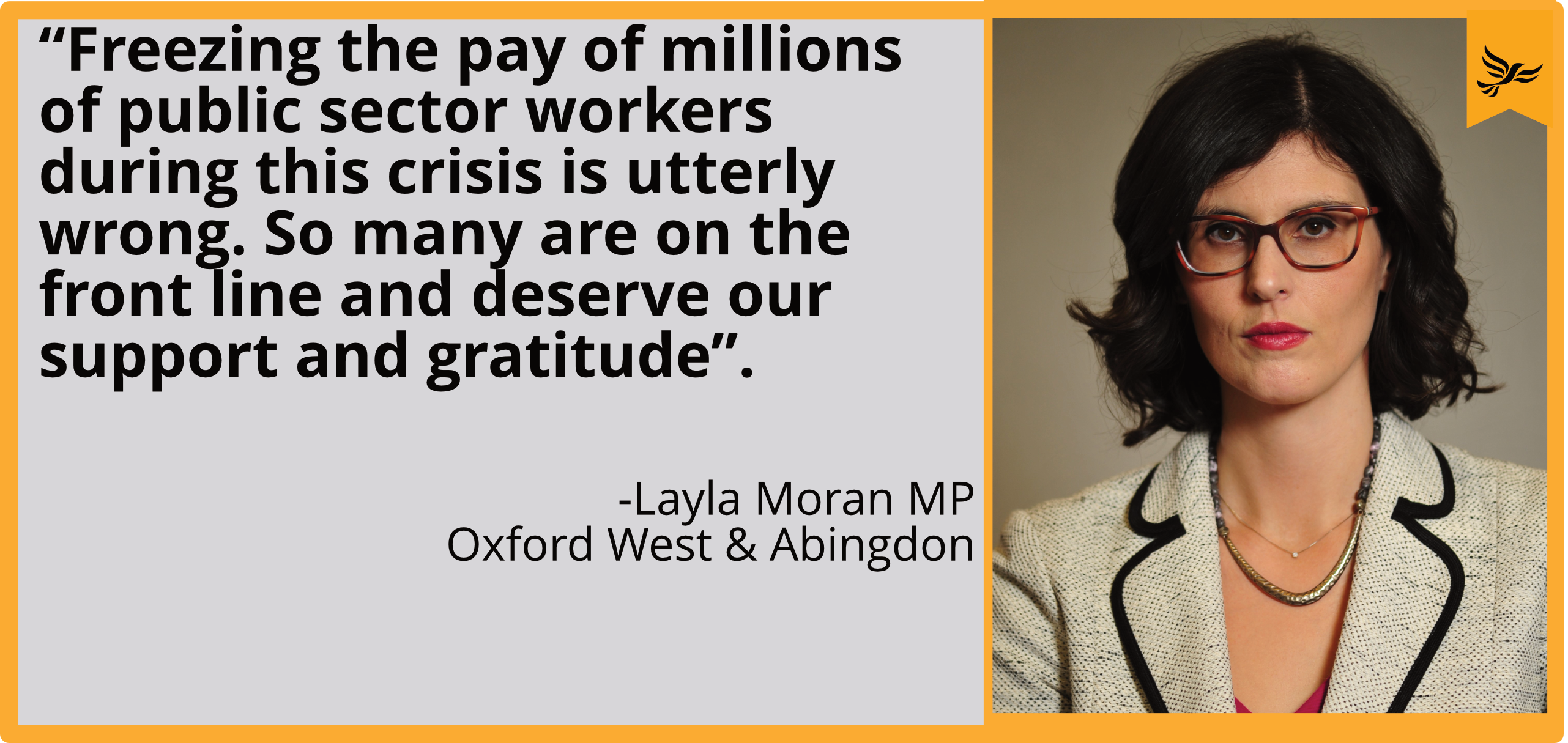 """Freezing the pay of millions of public sector workers during this crisis is utterly wrong. So many are on the front line and deserve our support and gratitude."