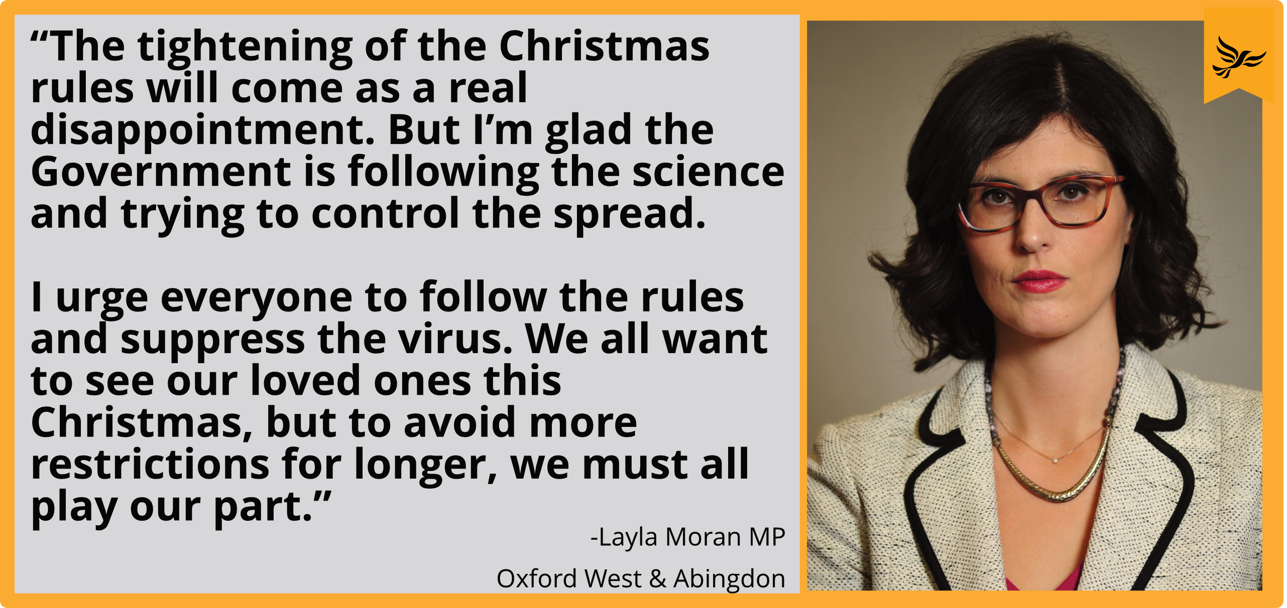 Layla Moran reacts announcement to tightening of rules for Christmas_