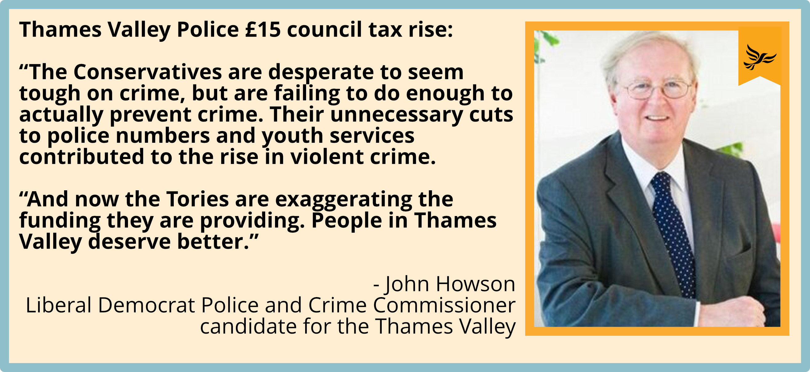 """The Conservatives are desperate to seem tough on crime, but are failing to do enough to actually prevent crime. Their unnecessary cuts to police numbers and youth services contributed to the rise in violent crime.  ""And now the Tories are exaggerating the funding they are providing. People in Thames Valley deserve better."""