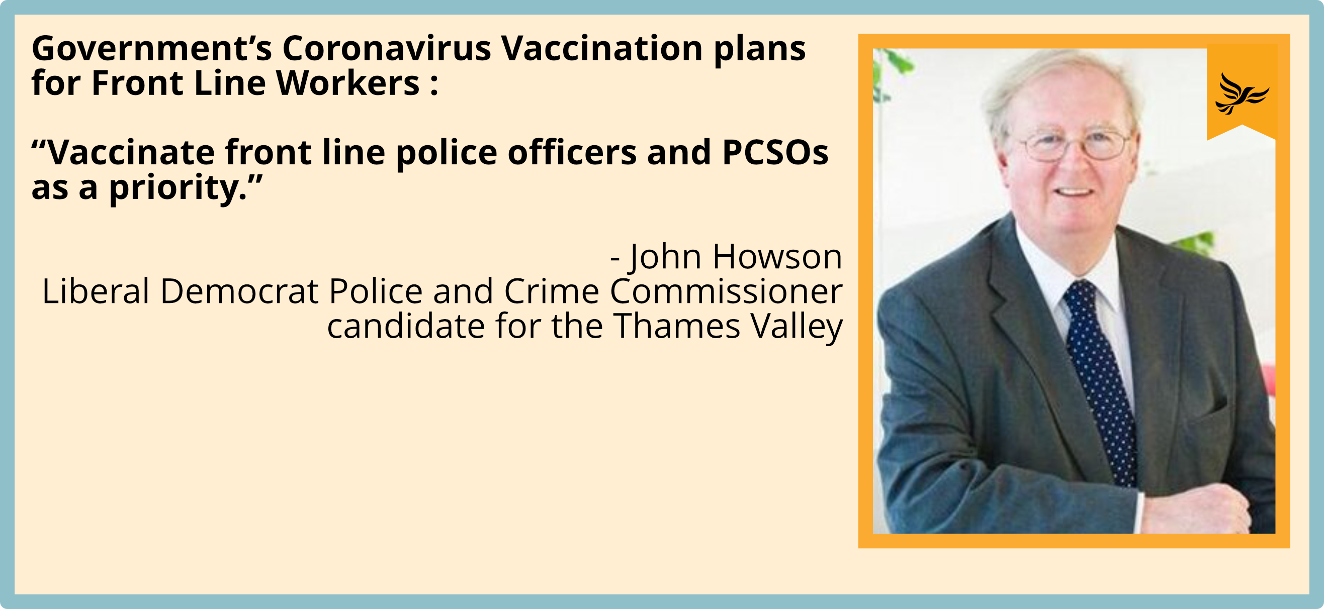 Vaccinate front line police officers and PCSOs as a priority