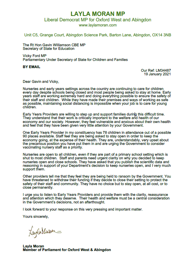 Layla's letter to Gavin Williamson re early years 200121