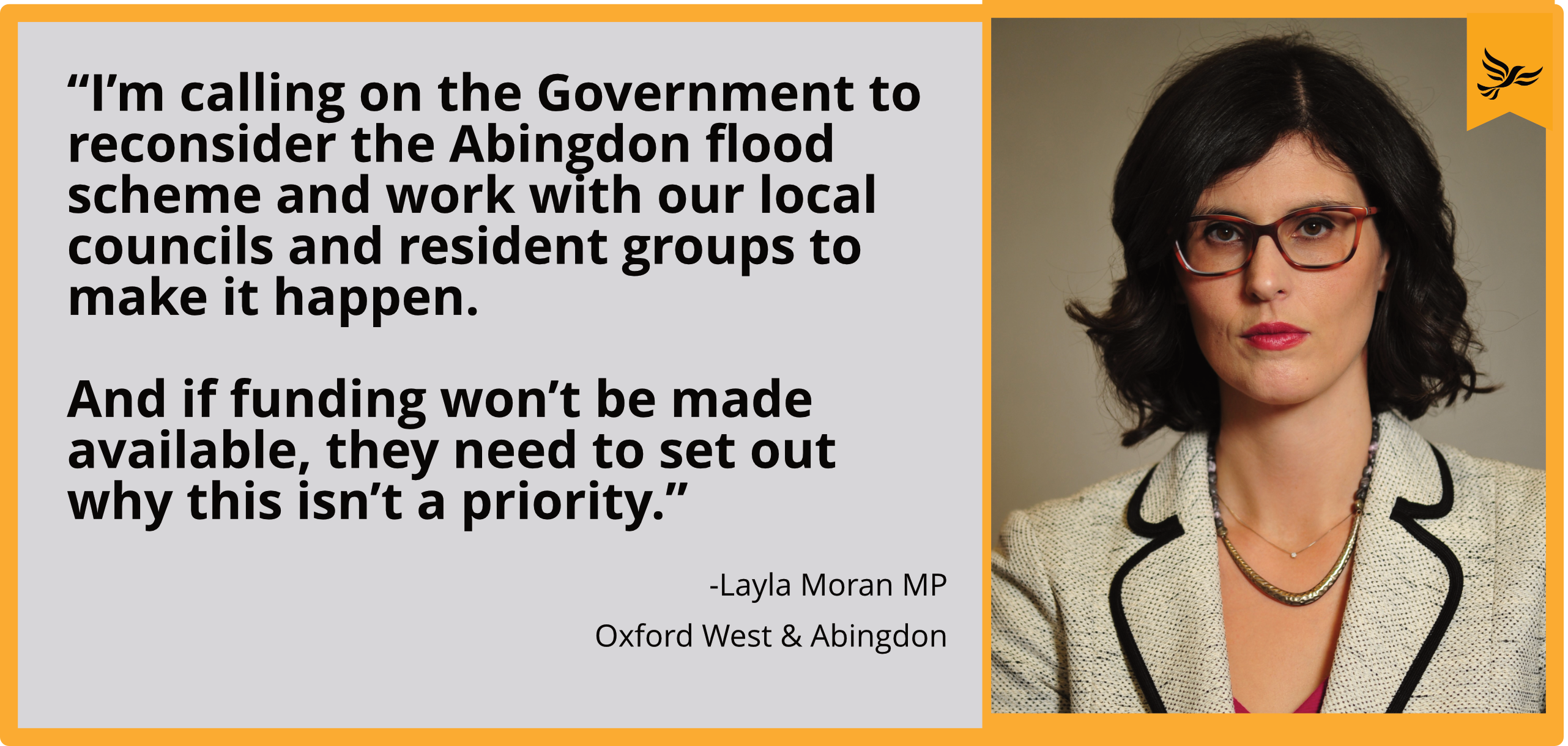 I'm calling on the Government to reconsider the Abingdon flood scheme and work with our local councils and resident groups to make it happen. And if funding won't be made available, they need to set out why this isn't a priority.""