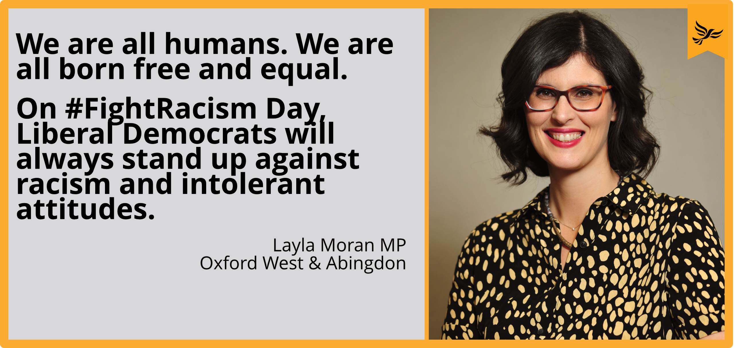 On #FightRacism Day, Liberal Democrats will always stand up against racism and intolerant attitudes.