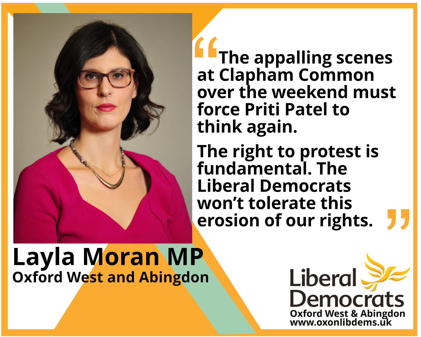 The appalling scenes at Clapham Common over the weekend must force Priti Patel to think again.  The right to protest is fundamental. The Liberal Democrats won't tolerate this erosion of our rights
