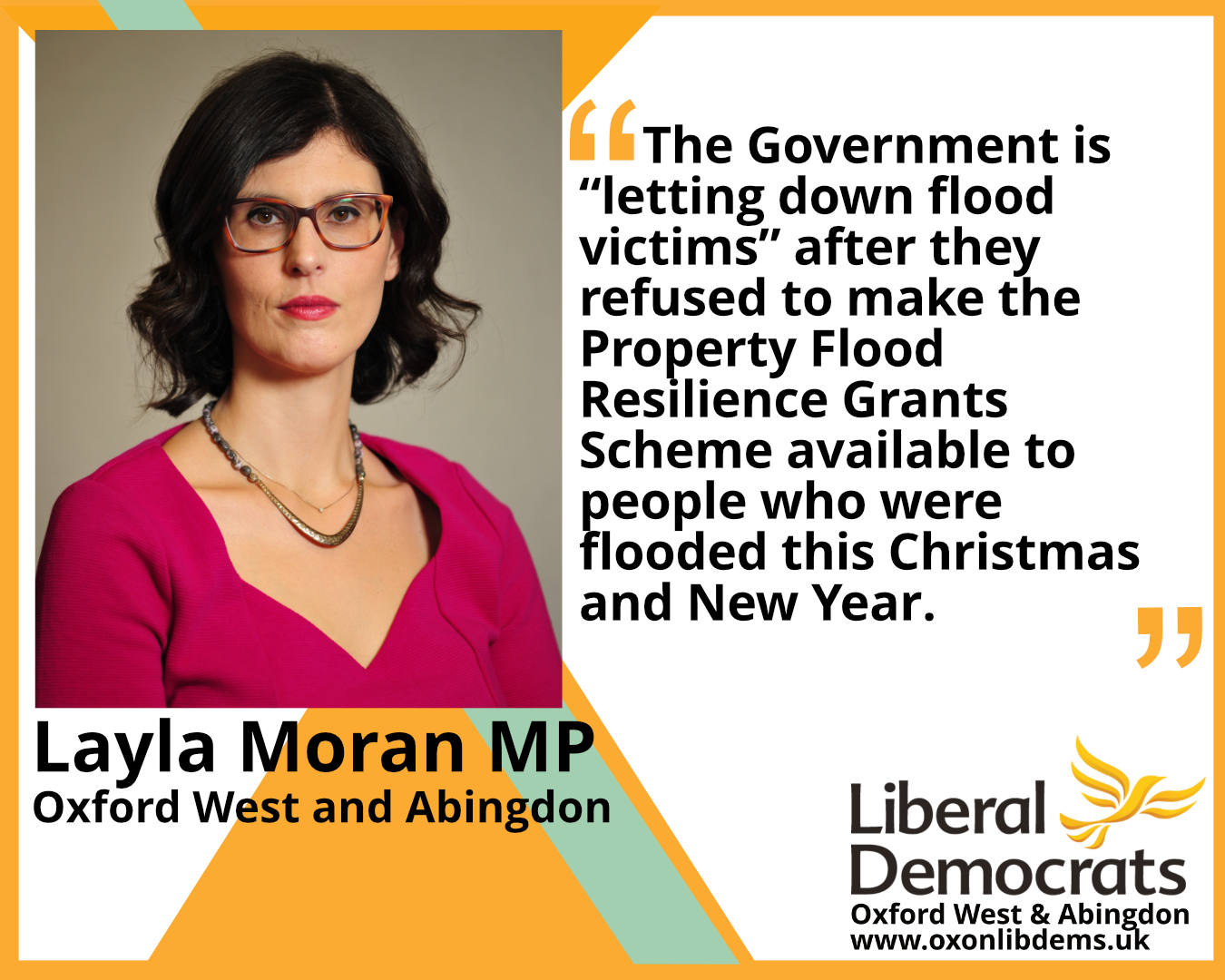 """The Government is """"letting down flood victims"""" after they refused to make the Property Flood Resilience Grants Scheme available to people who were flooded this Christmas and New Year"""