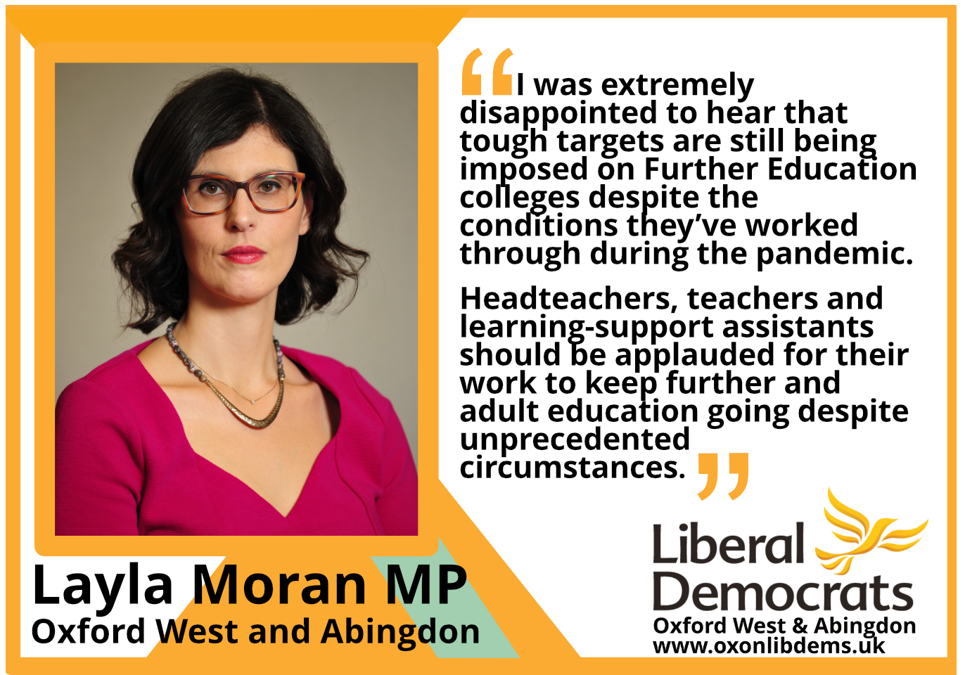 I was extremely disappointed to hear that tough targets are still being imposed on Further Education colleges despite the conditions they've worked through during the pandemic. Headteachers, teachers and learning-support assistants should be applauded for their work to keep further and adult education going despite unprecedented circumstances.