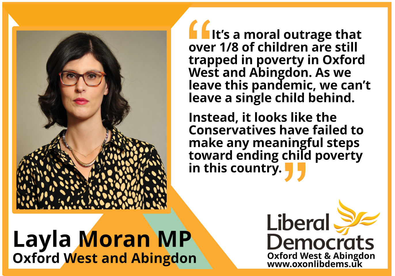 It's a moral outrage that over 1/8 of children are still trapped in poverty in Oxford West and Abingdon. As we leave this pandemic, we can't leave a single child behind. Instead, it looks like the Conservatives have failed to make any meaningful steps toward ending child poverty in this country.