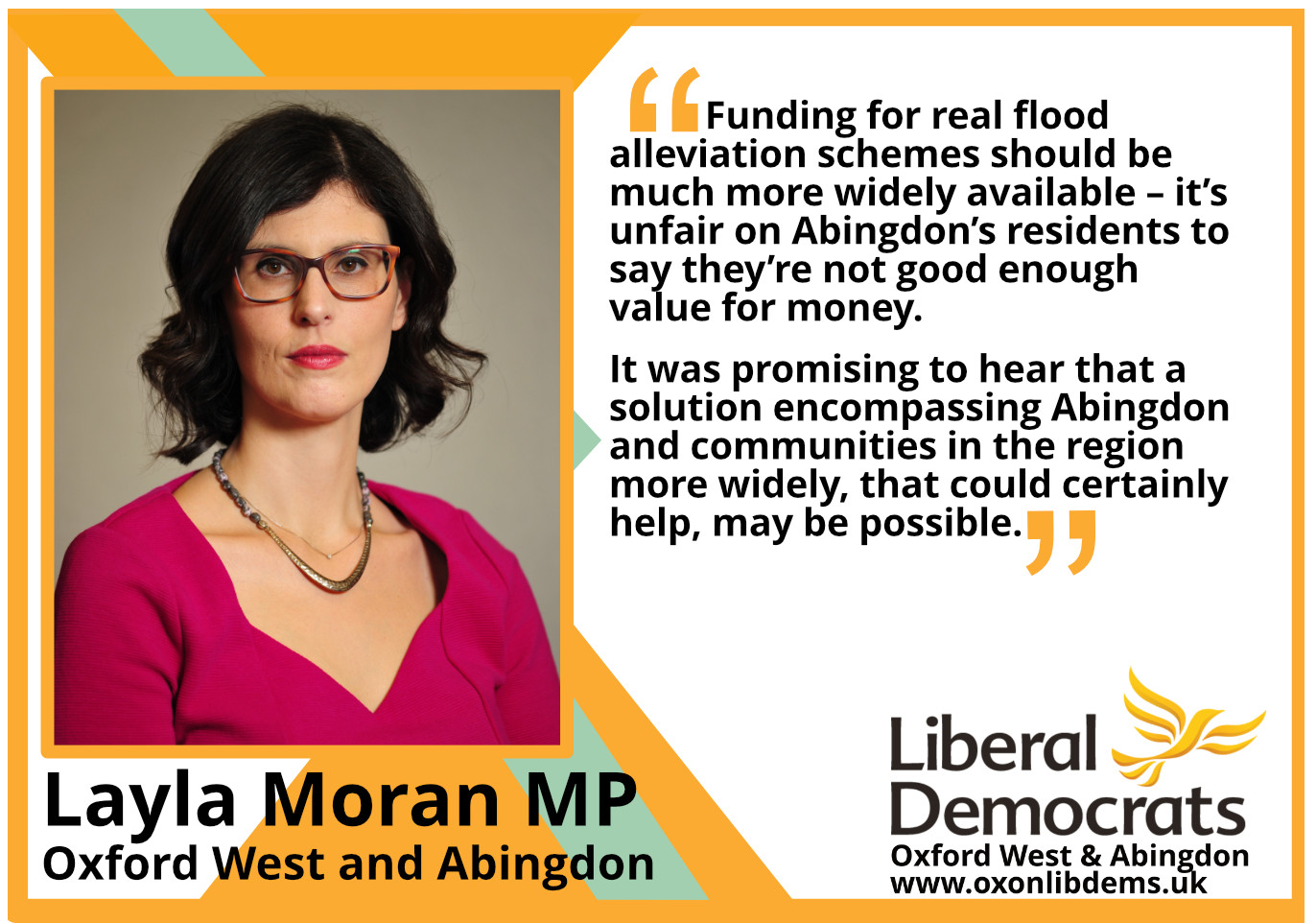 Key_Funding for real flood alleviation schemes should be much more widely available – it's unfair on Abingdon's residents to say they're not good enough value for money. It was promising to hear that a solution encompassing Abingdon and communities in the region more widely, that could certainly help, may be possible