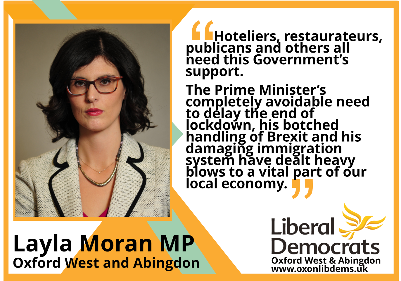 key_ Hoteliers, restaurateurs, publicans and others all need this Government's support. The Prime Minister's completely avoidable need to delay the end of lockdown, his botched handling of Brexit and his damaging immigration system have dealt heavy blows to a vital part of our local economy.