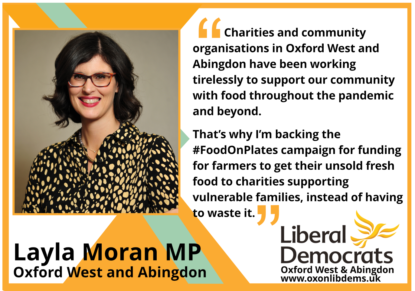 key_Charities and community organisations in Oxford West and Abingdon have been working tirelessly to support our community with food throughout the pandemic and beyond. That's why I'm backing the #FoodOnPlates campaign for funding for farmers to get their unsold fresh food to charities supporting vulnerable families, instead of having to waste it.