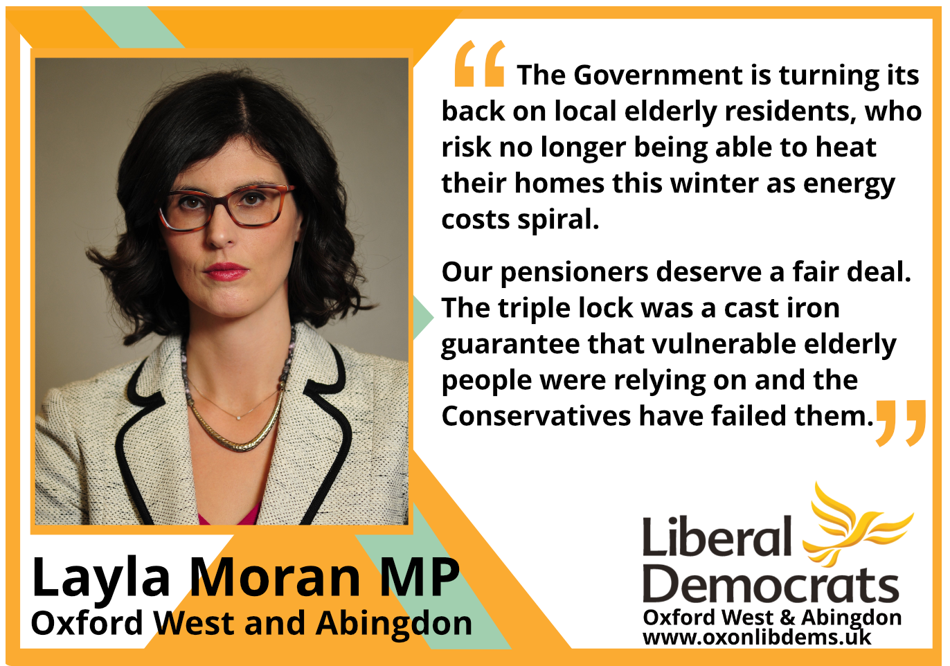 """key_The Government is turning its back on local elderly residents, who risk no longer being able to heat their homes this winter as energy costs spiral.     """"Our pensioners deserve a fair deal. The triple lock was a cast iron guarantee that vulnerable elderly people were relying on and the Conservatives have failed them."""