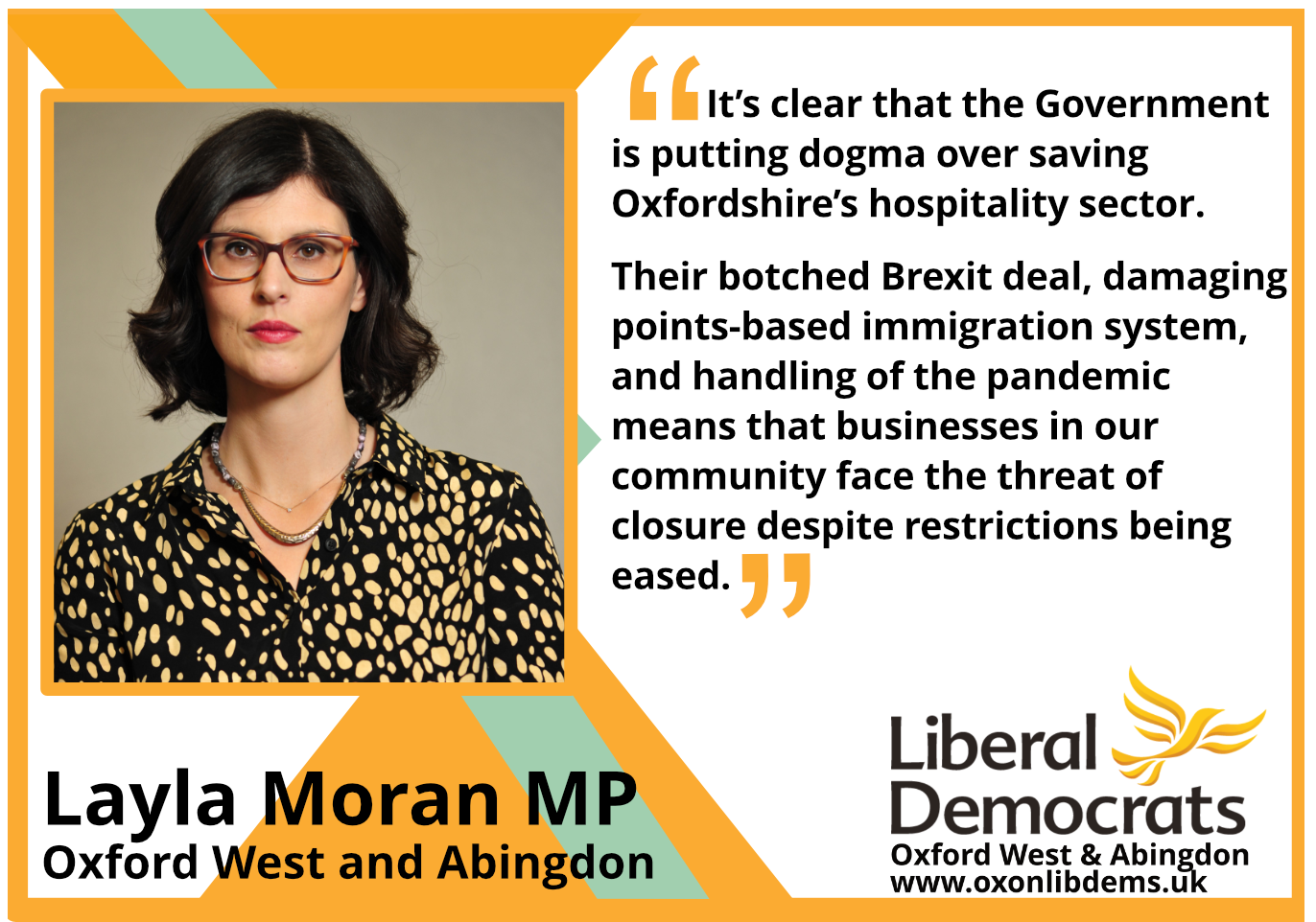 key_It's clear that the Government is putting dogma over saving Oxfordshire's hospitality sector. Their botched Brexit deal, damaging points-based immigration system, and handling of the pandemic means that businesses in our community face the threat of closure despite restrictions being eased