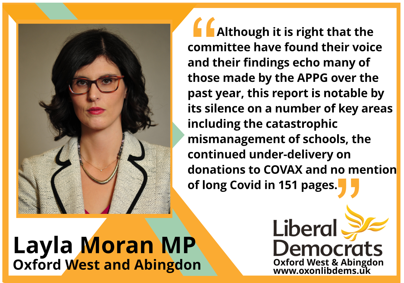 key_Although it is right that the committee have found their voice and their findings echo many of those made by the APPG over the past year, this report is notable by its silence on a number of key areas including the catastrophic mismanagement of schools, the continued under-delivery on donations to COVAX and no mention of long Covid in 151 pages