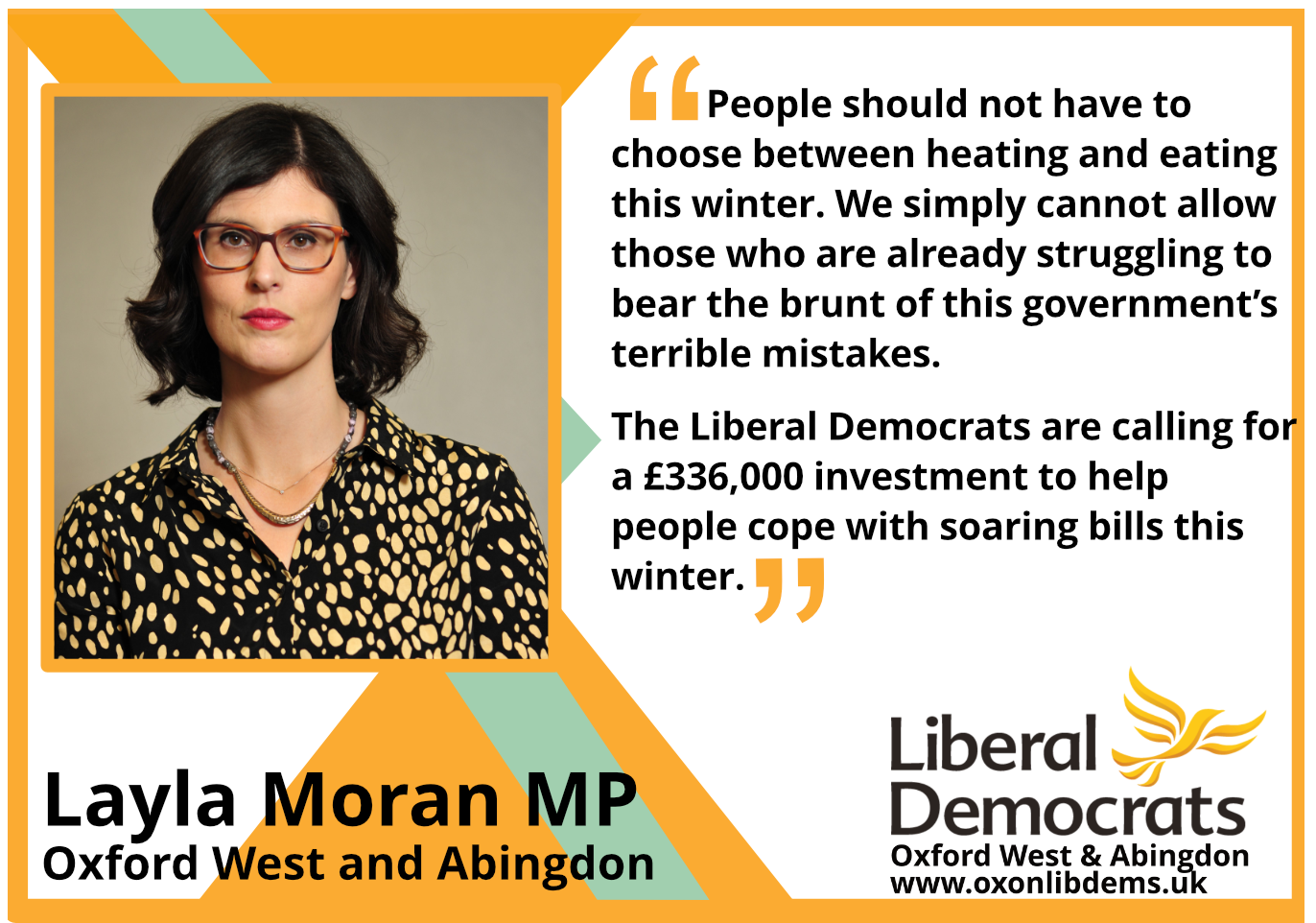 """key_People should not have to choose between heating and eating this winter. We simply cannot allow those who are already struggling to bear the brunt of this government's terrible mistakes.     """"The Liberal Democrats are calling for a £336,000 investment to help people cope with soaring bills this winter."""