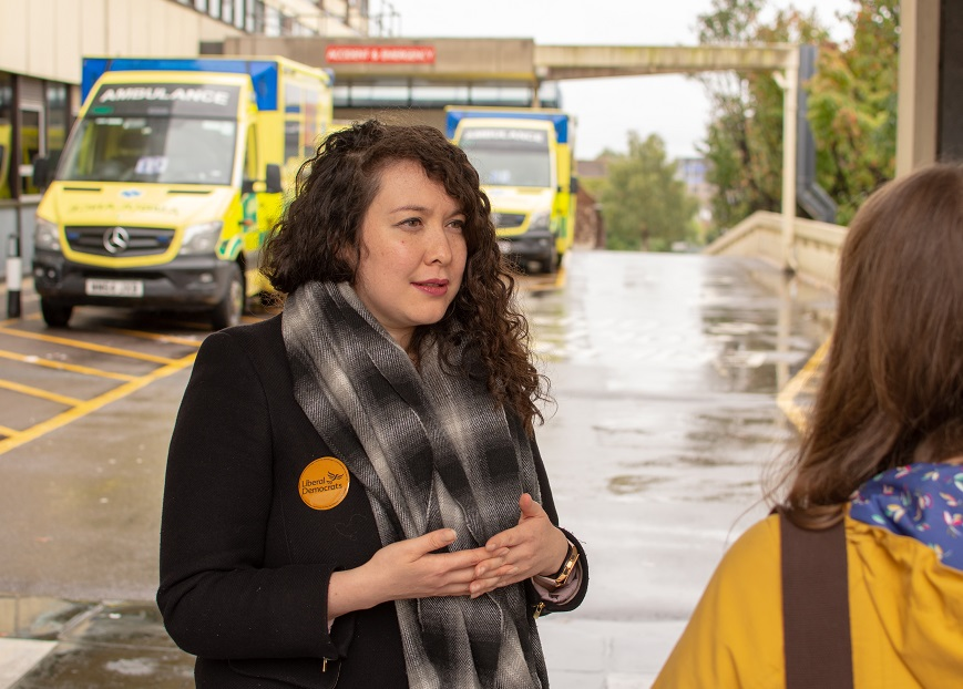 Victoria Collins with Liberal Democrats fighting to stop downgrade of Poole Hosptial