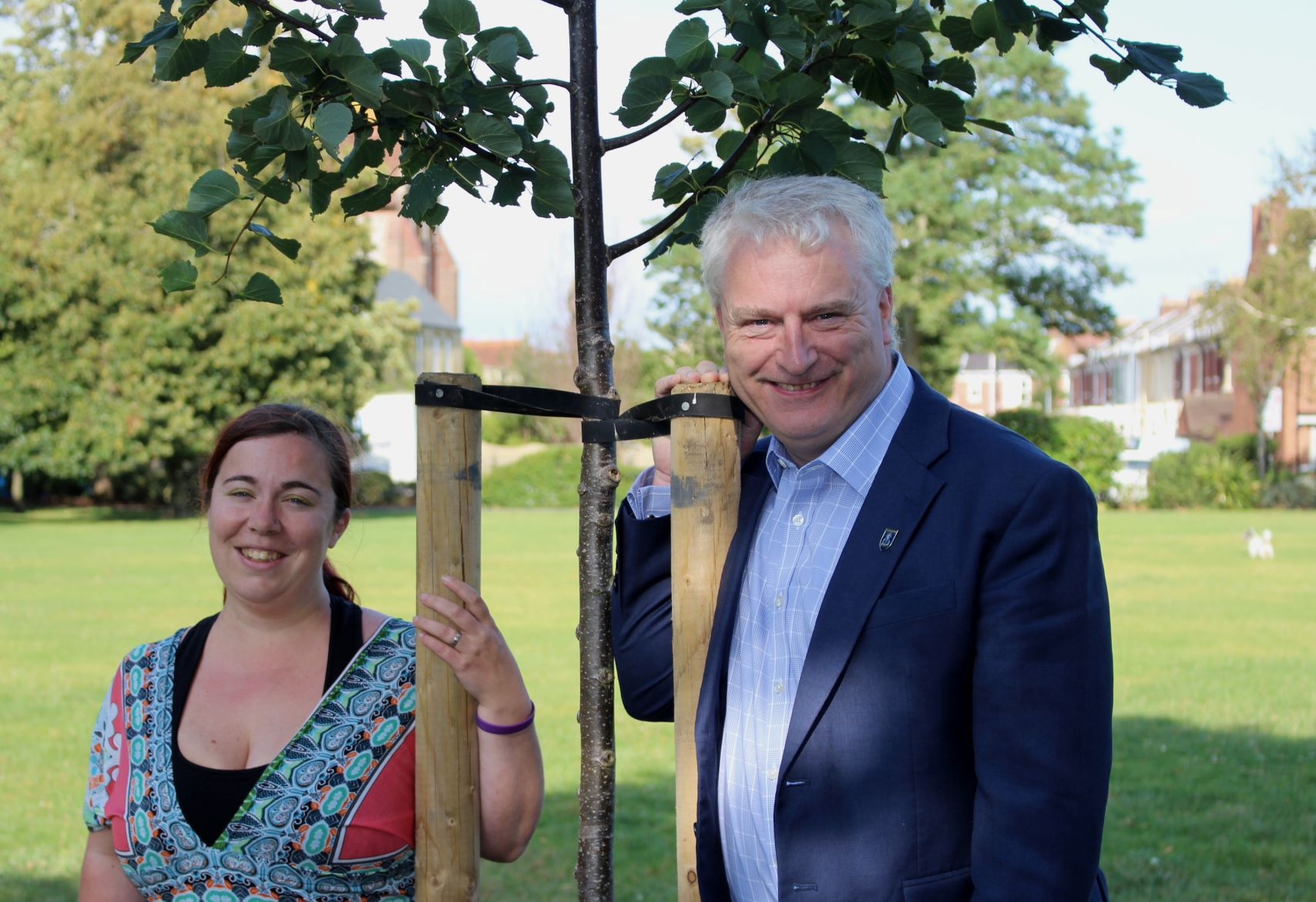 Kimberly Barrett, cabinet member for tackling Climate Change and Leader of Portsmouth City Council Gerald Vernon-Jackson at Milton Park