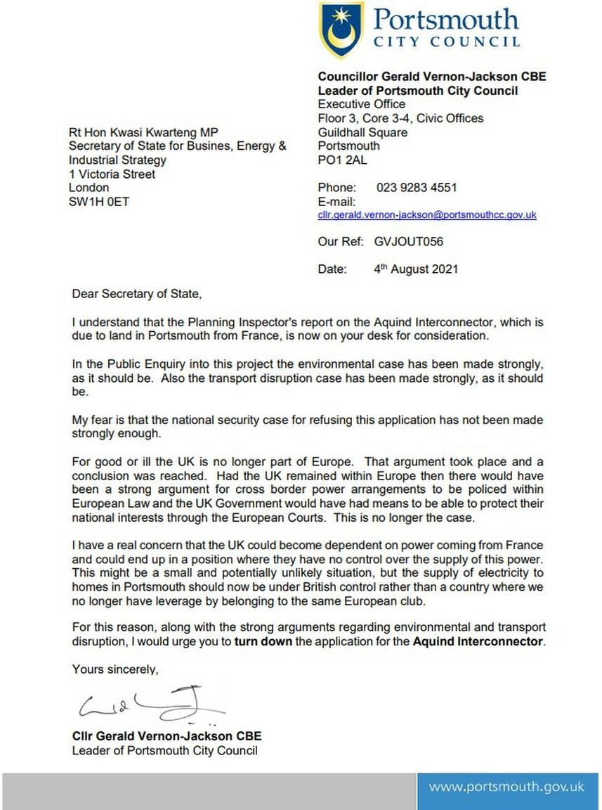 Aquind letter - national security concerns