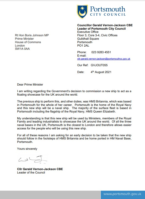 Letter from GVJ to PM calling on new National Flagship to be based in Portsmouth