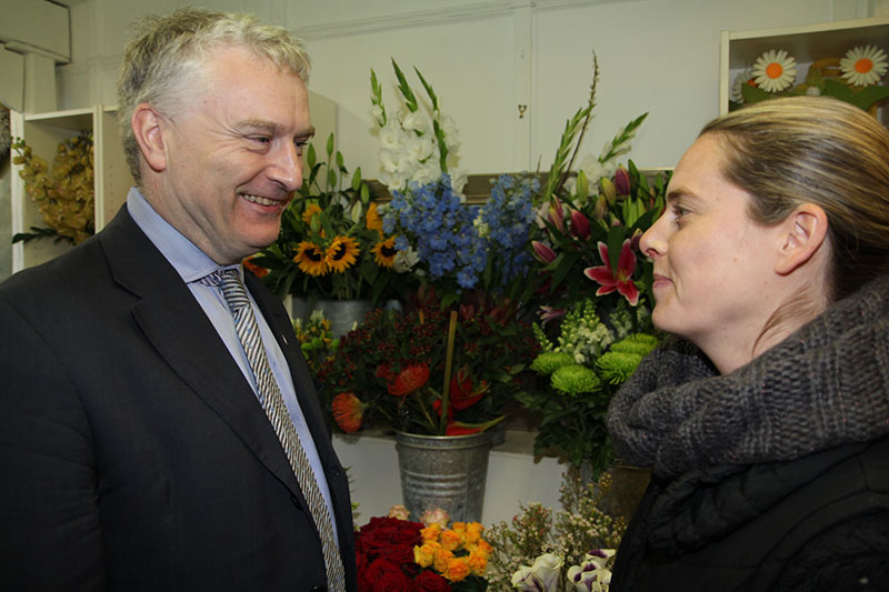 Gerald Vernon-Jackson chats to a local florist about business