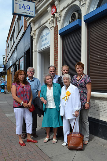 Local Lib Dems outside the proposed venue