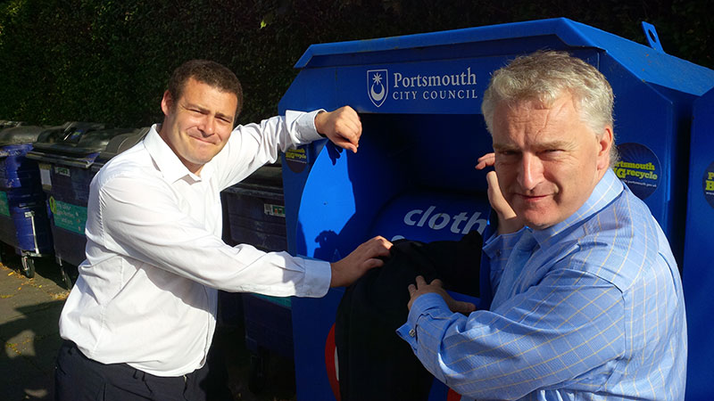 Portsmouth South candidate Gerald Vernon-Jackson and Fratton candidate Dave Ashmore support Portsmouth charity clothes banks