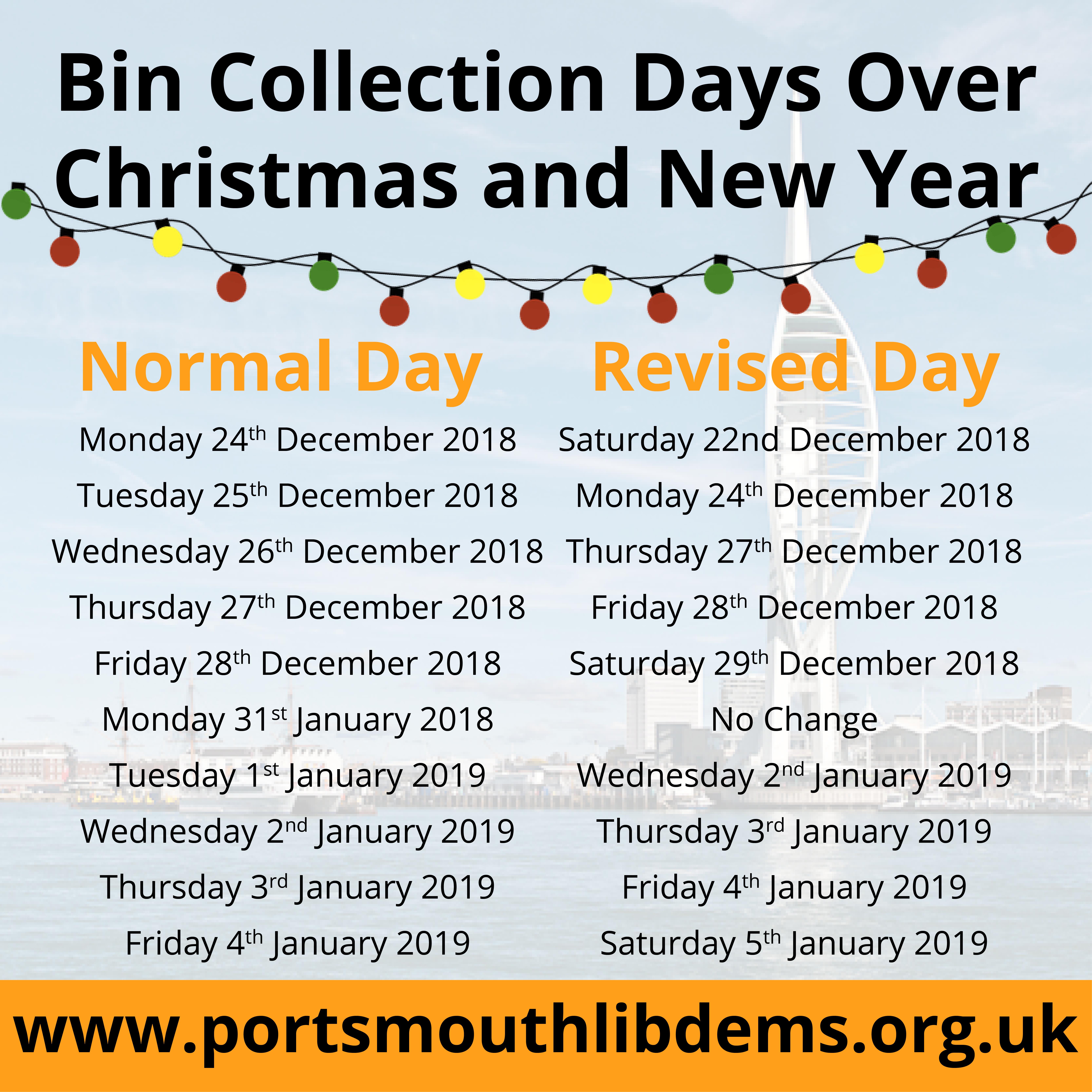 Christmas Bin Collection Days