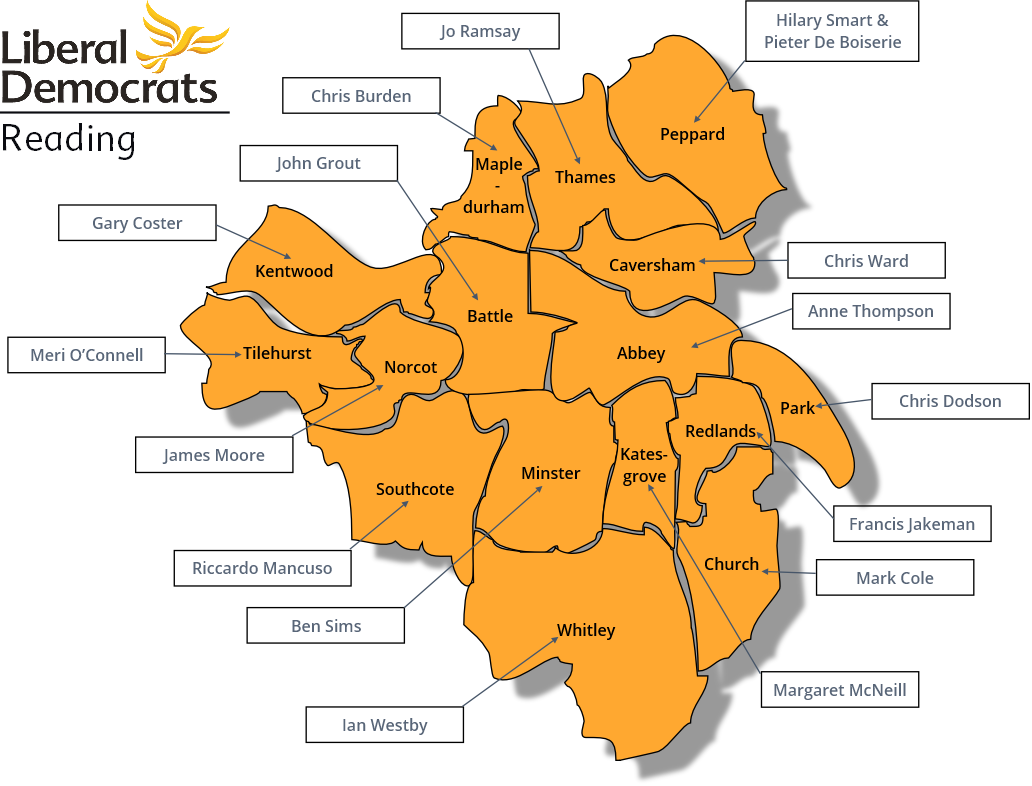 A ward map of Reading, showing candidates