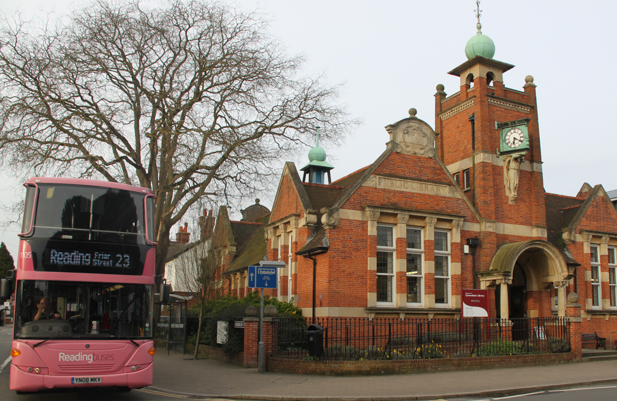 Caversham Library with a Reading Bus.