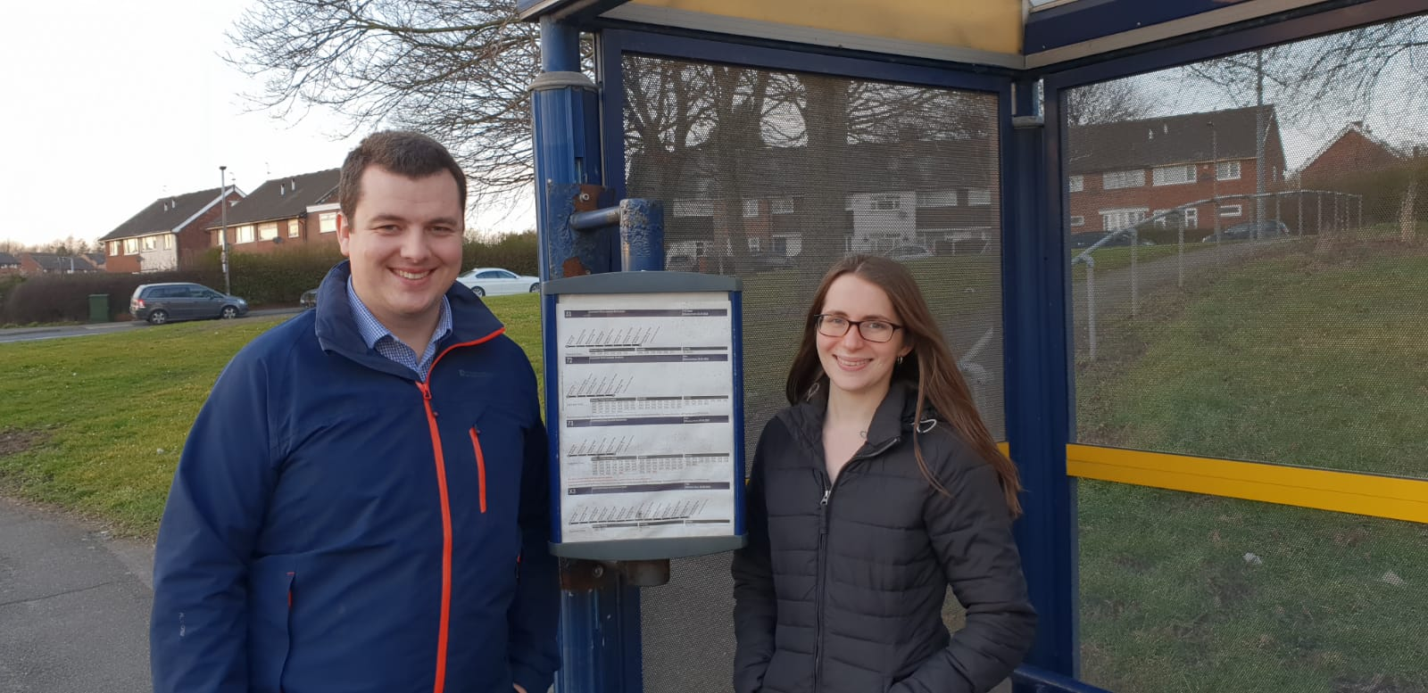 Lib Dems Adam and Charlotte Carter are campaigning to improve the buses