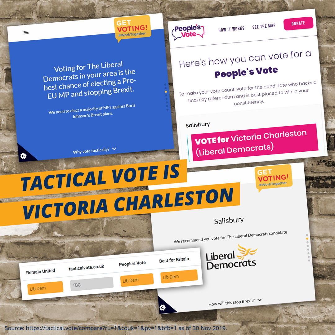 Tactical Vote sites recommend Victoria Charleston