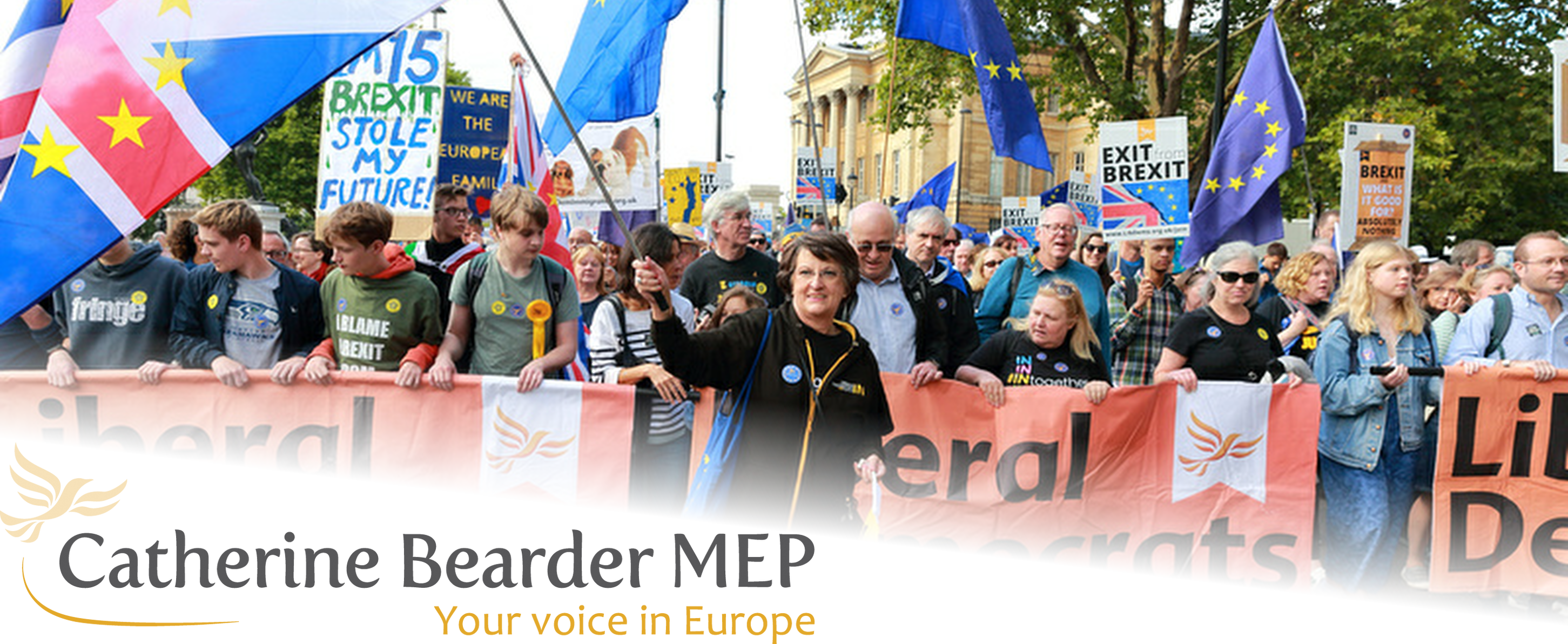 Enable images to view this image. Catherine Bearder leads a European rally