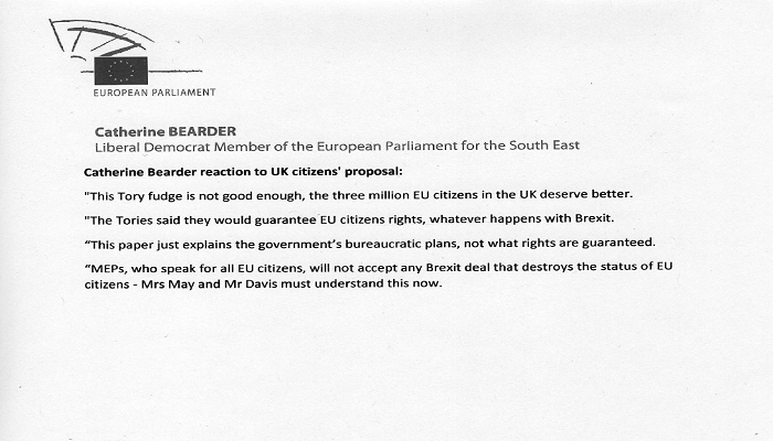 Catherine Bearder MEP reacts to UK citizens' proposal