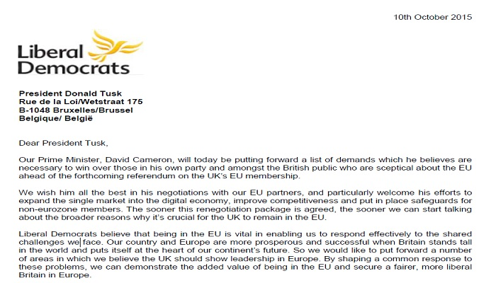 Liberal Democrat letter to European Council President Donald Tusk