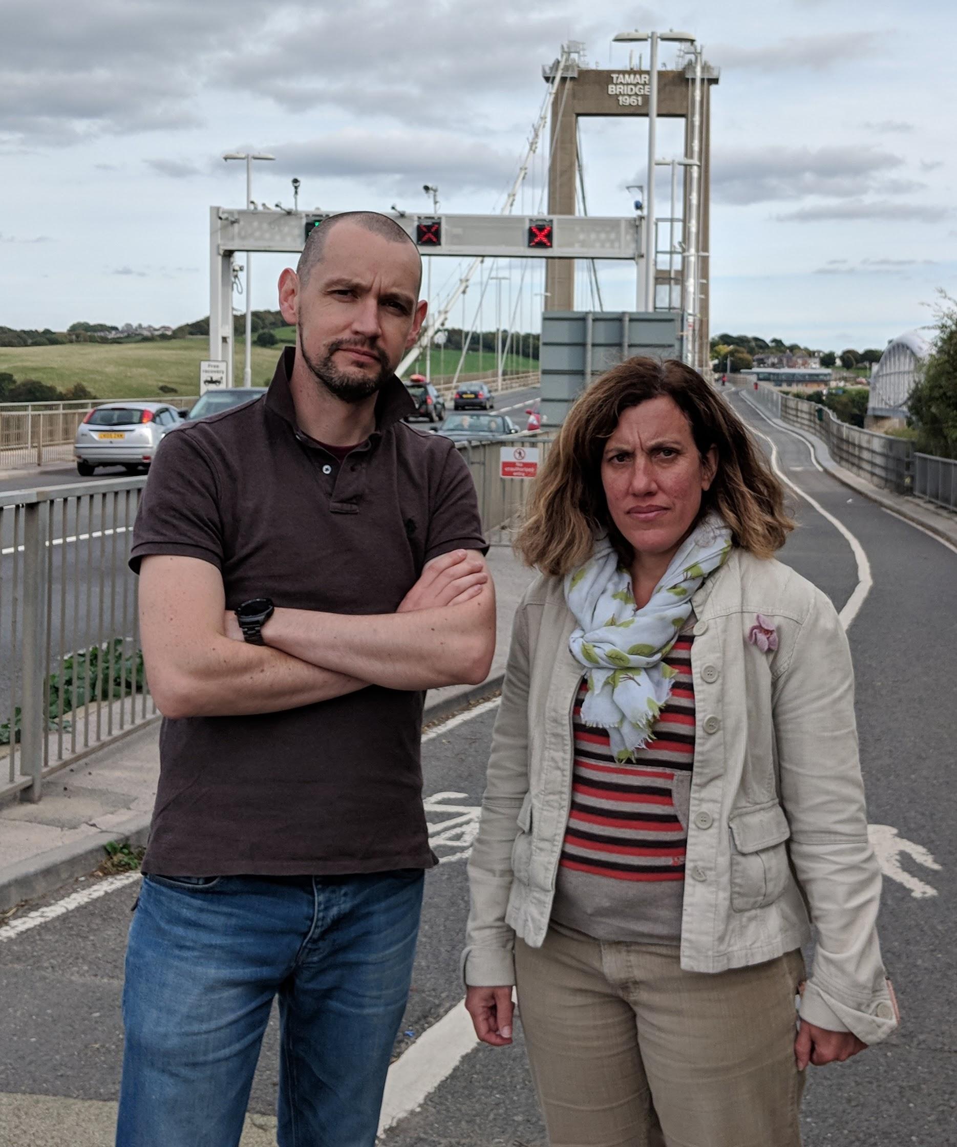 Lib Dems campaigners on the Tamar Bridge