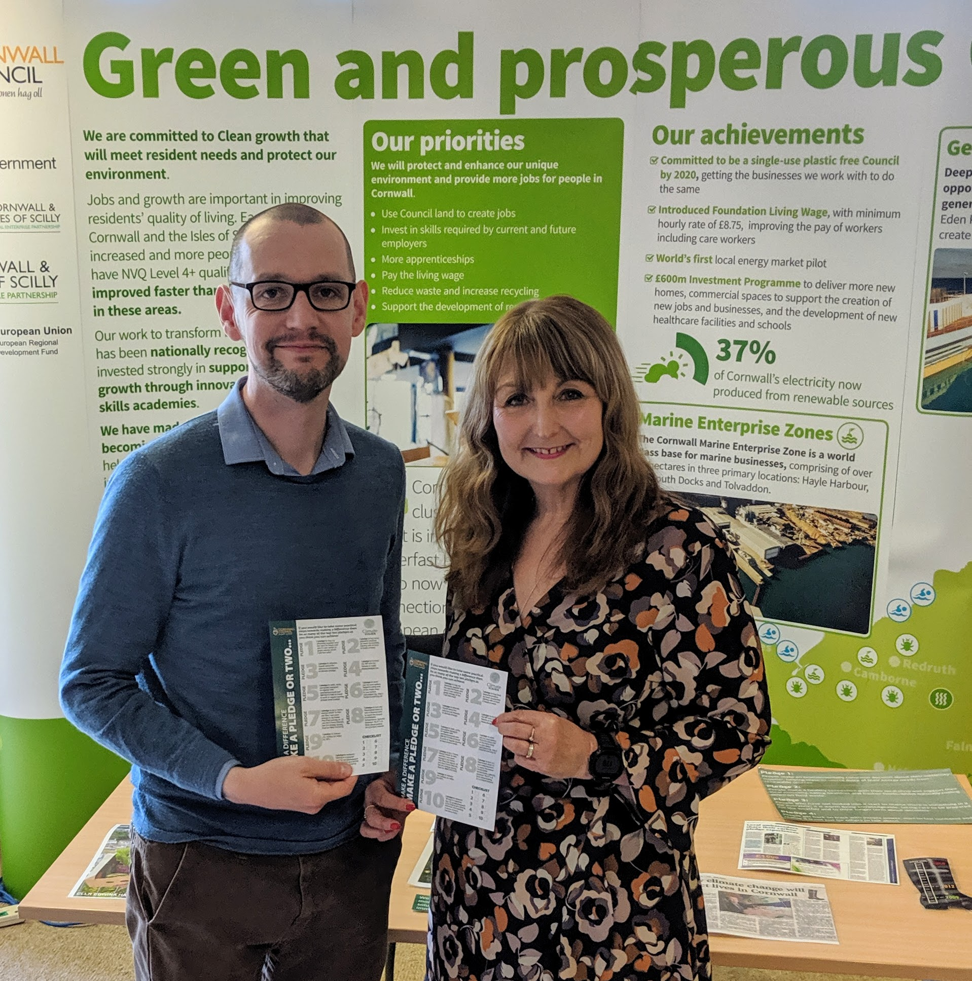 "Colin Martin with Edwina Hannaford, Cabinet Member for Climate Change, launching Cornwall's ""Top Ten Pledges for Climate Change"""