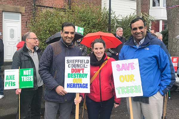 Cllr Mohammed Mahroof and Laura Gordon on Western Road
