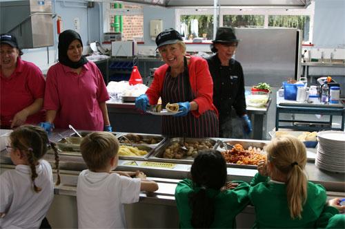 Lorely Burt serving free school meals